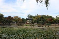 Pavilhão bonito de Hyangwon, palácio de Gyeongbok, Seoul imagem de stock royalty free