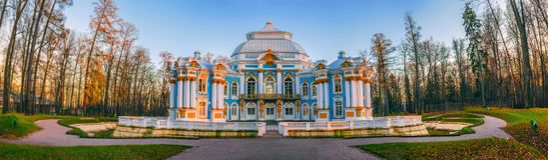 Pavilhão do eremitério em Tsarskoe Selo, Pushkin, St Petersburg Foto de Stock Royalty Free