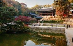Pavilhão no jardim secreto no palácio de Changdeokgung, Seoul Fotos de Stock Royalty Free