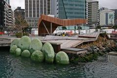Pavilhão norte de Kumutoto, Wellington do centro, Nova Zelândia imagens de stock royalty free