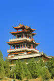 Pavilhões e céu dos templos de China Foto de Stock