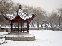 A Chinese pavilion under the snow Stock Image