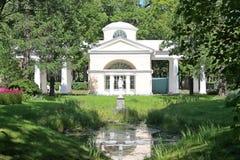 Pavilion Aviary and the statue of Venus. Pavlovsky Park. The city of Pavlovsk. royalty free stock photography