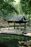 Pavilion in Bamboo Forest Stock Photo