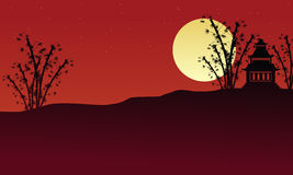 Pavilion and bamboo landscape of silhouettes. Illustration Royalty Free Stock Photography