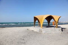 Pavilion on the beach in Bahrain Stock Photo