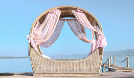 Summer dream. Summer-house on the beach overlooking the sea Stock Images