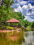 Pavilion on a beautiful  japanese garden Royalty Free Stock Images