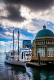 Pavilion and boats at Rowes Wharf, in Boston, Massachusetts. Stock Images