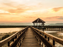 Pavilion and bridge through the marsh. And reeds at sunset Royalty Free Stock Photography