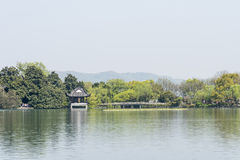pavilion and bridge in The south lake Royalty Free Stock Photography
