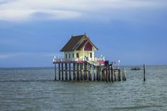 Pavilion built in the sea. royalty free stock image