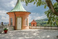 Pavilion of the castle in Prague. In summer royalty free stock image