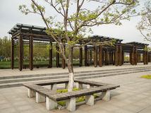 The pavilion. Chinese architecture is timber structure system construction, so the pavilion is mostly in the form of wood structure. Wooden pavilion, with wooden Royalty Free Stock Photo