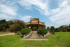 Pavilion at the Chinese gardens, meditative place Stock Photo