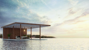Pavilion contemporary on the beach 3d rendering Stock Photos