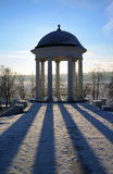 Pavilion on a cost Volga river, winter Stock Photo
