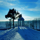 Pavilion on a cost Volga river, winter Stock Photography
