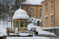 A Pavilion Covered by Snow Stock Images