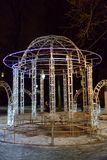 Pavilion decorated with garlands. ST.PETERSBURG, RUSSIA - 20 DECEMBER 2017: Pavilion decorated with garlands for the New Year in Petersburg at night Stock Photo
