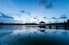 Pavilion at the end of pier in twilight Royalty Free Stock Image