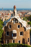 Pavilion at the entrance of Park Guell by Antoni Gaudi. Stock Photos