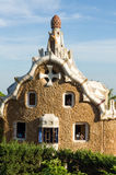 Pavilion at the entrance of Park Guell by Antoni Gaudi. Royalty Free Stock Photography