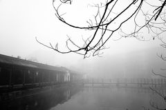 Ancient pavilion in the fog Stock Photo
