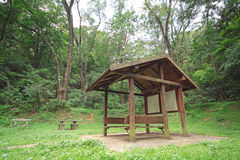 Pavilion in forest at day Stock Photo