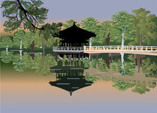 Pavilion in forest lake Royalty Free Stock Image