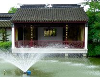 A pavilion with a fountain Stock Photography