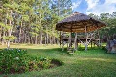 A pavilion or gazebo in a beautiful public garden park Royalty Free Stock Photos