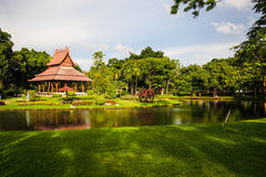 Pavilion. In green garden and canal Royalty Free Stock Photos