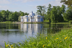 Pavilion Grotto. On the big pond in Catherine's park, Tsarskoe Selo (Pushkin), St. Petersburg, Russia Stock Photos