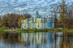Pavilion Grotto and Cameron`s Gallery in Catherine park in Tsars stock image