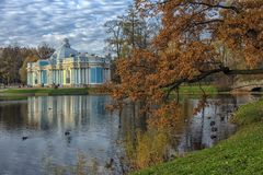 Pavilion Grotto and Cameron`s Gallery in Catherine park in Tsars stock images