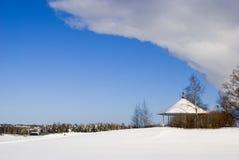 Pavilion on Halkosaari. Lappeenranta. Finland. Pavilion on island Halkosaari in Lappeenranta. Lake Saimaa in winter Royalty Free Stock Photos