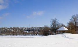 Pavilion on Halkosaari. Lappeenranta. Finland. Pavilion on island Halkosaari in Lappeenranta. Lake Saimaa in winter Stock Photo