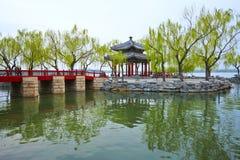 Pavilion of Heralding Spring in the Kunming lake Royalty Free Stock Photo
