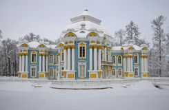 The pavilion Hermitage cloudy February day. Catherine Park, Tsarskoe Selo. The pavilion Hermitage cloudy February day.  Russia, Catherine Park, Tsarskoe Selo Royalty Free Stock Photography
