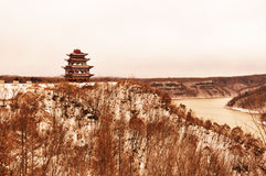 The pavilion on the hill. In China's jilin a hill a pavilion, s very long Stock Photo