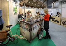 Pavilion of the ice cream producer at Gastrofood - Trade Fair for Food and Drinks for Catering in Cracow. Poland stock photos