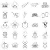 Pavilion icons set, outline style. Pavilion icons set. Outline set of 25 pavilion vector icons for web isolated on white background Stock Images
