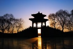 Pavilion In Sunset Royalty Free Stock Photos