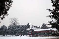 Pavilion and its corridor. Pavilion and corridor in a garden after snow, shot at the temple of heaven park, Beijing Royalty Free Stock Image
