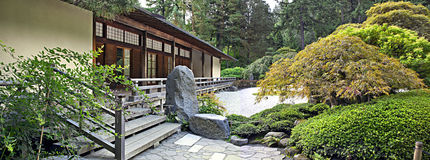 Pavilion at Japanese Garden Panorama Royalty Free Stock Image