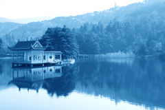 Pavilion in lake Stock Image
