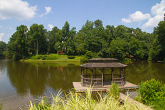 Pavilion beside a lake. In sunny day Stock Photo