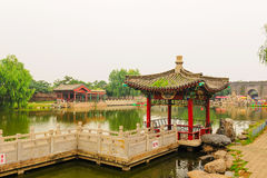 Pavilion on lakeside Stock Images
