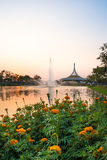 Pavilion landmark of Suan Luang Rama IX Public Park. With beautiful sunset sky , Bangkok, Thailand Stock Photography